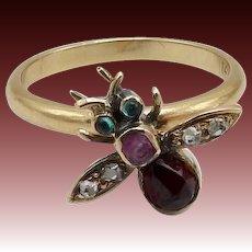 Garnet, Diamond, Emerald and Sapphire Fly Ring
