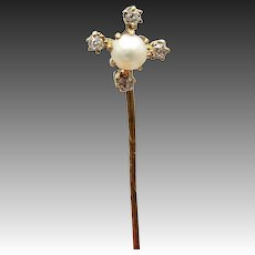 10KT Gold, Pearl and Diamond Victorian Stick Pin