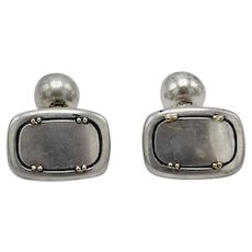 Vintage Sterling Silver & 18K Gold Cartier Cufflinks
