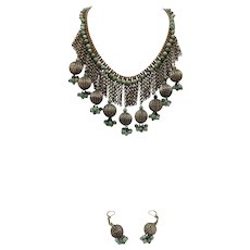 Vintage Bohemian Tribal Jade Necklace & Earrings