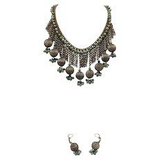 Vintage Bohemian Tribal Jade Necklace & Earrings