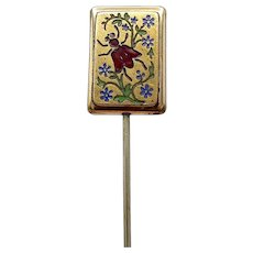 Rare Victorian Enamel Fly and Onyx Horse Stick Pin