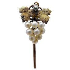 14KT Gold & Diamond & Pearl Grape Cluster Stick Pin