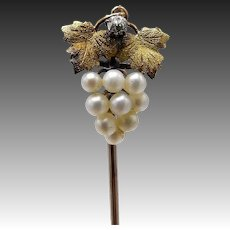 14KT Gold & Diamond & Pearl Grape Cluster Stick Pin