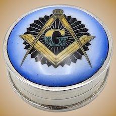 Sterling Silver Vintage Enamel Masonic Pill Box