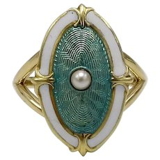Edwardian Enamel & Pearl 14KT Gold Ring