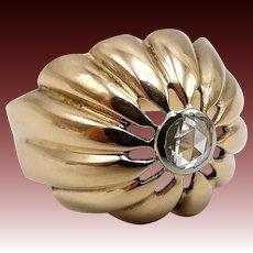 18K Rose Gold Rose Cut Diamond Bombe Ring