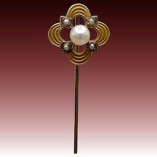 Victorian-era 14KT Gold & Pearl Stick Pin