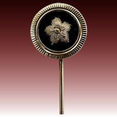 12 KT Gold Flower & Onyx Medallion Stick Pin
