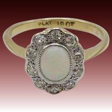 Edwardian 18KT Gold & Platinum Opal and Diamond Flower Ring
