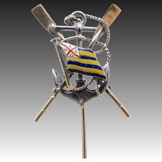 14KT Gold, Silver and Enamel Boating Flag Stick Pin