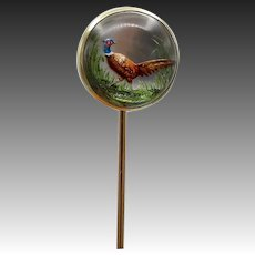 18 K Gold Reverse Painted Carved Essex Crystal Pheasant Stick Pin