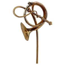 French Victorian 14KT Gold Hunting Stick Pin