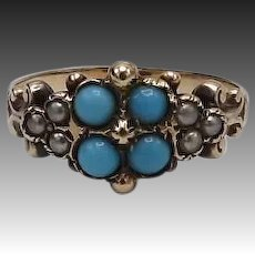 14KT Gold Victorian Turquoise and Seed Pearl Ring