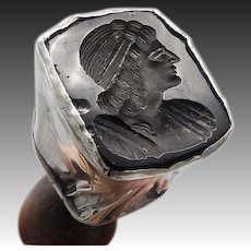 Antique Sterling Silver & Black Agate Intaglio Seal