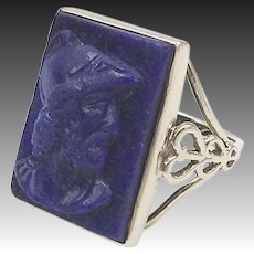 Victorian 14K Gold Carved Warrior Cameo Lapis Ring