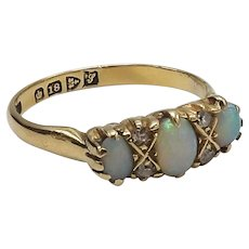 Edwardian Opal and Diamond 18KT Gold Ring