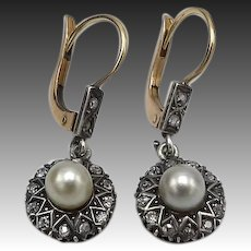 Late Victorian, 15k Gold & Silver Pearl and Diamond Earrings