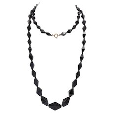 Graduated Hand Faceted French Jet Necklace