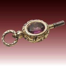 Georgian Amethyst, Bloodstone and 12KT Gold Watch Fob Key