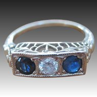 Art Deco 14K Gold Three Stone Diamond and Sapphire Ring