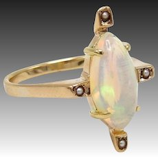 Natural Flash Opal Victorian 14KT Gold Ring
