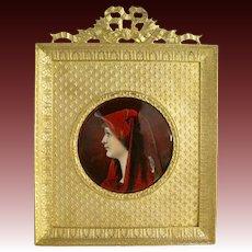 French Limoges Enamel Portrait of St. Fabiola in Bronze Frame