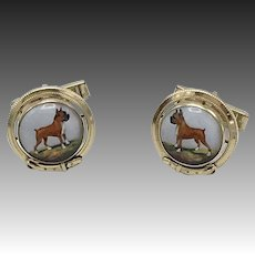 Mid-Century 14KT Gold Reverse Painted Essex Crystal Boxer Dog Cufflinks