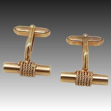 1960's 14KT Rose Gold Plated Rope & Bar Cufflinks