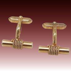 1960's 14KT Rose Gold Rope & Bar Cufflinks