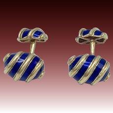 18KT Gold and Blue Enamel Schlumberger & Tiffany's Cufflinks