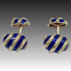 """18KT Gold and Blue Enamel Schlumberger for Tiffany & Co """"Olives"""" Cufflinks"""