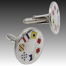 Sterling Silver and Enamel Nautical Flags Tiffany & Co CuffLinks