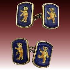 British Vintage Teddy Bear 14K Gold Cufflinks
