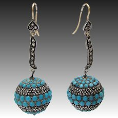 Etruscan Revival Mico-Pavé Turquoise and Diamond Ball Earrings