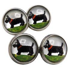 Scottish Terrier Sterling Silver Reverse Hand-Painted Essex Crystal CuffLinks