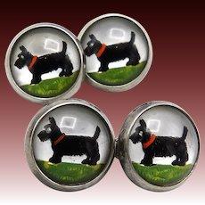 Scottish Terrier Sterling Silver Reverse Hand-Painted Essex Crystal CuffLinks