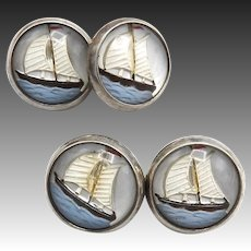 Vintage Sailboat Reverse Painted Essex Crystal Sterling Silver Cuff Links
