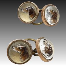 Retriever Dog 9K Gold Reverse Hand-Painted Essex Crystal  CuffLinks