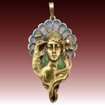 Art Nouveau Plique-a-Jour 14KT Gold Peacock & Figure Pendant