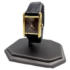Vintage Must de Cartier Gold Vermeil Argent Tank Watch