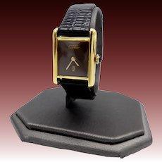 Vintage Must de Cartier Gold Vermeil Argent Tank Watch