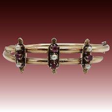 14 K Rose Gold Etruscan Revival, Pearl, and Ruby Bracelet