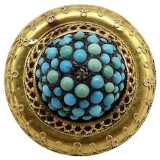 Etruscan Revival 14 K Gold, Turquoise, and Diamond Brooch