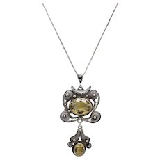 Chinese Art Deco Sterling Silver Wirework and Citrine Necklace