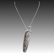 Sterling Silver Art Nouveau Perfume Bottle Pendant