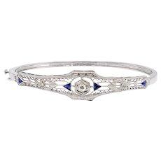 Art Deco Diamond & Sapphire 14K White Gold Bracelet