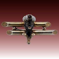 Georgian-Era Gilded Silver Venetian Blackamoor Brooch with Garnet and Enamel