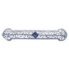 Art Deco Blue Glass Filigree Bar Brooch