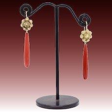 14k Gold Victorian Sardinian Coral Earrings.